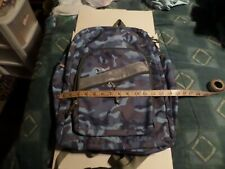 "LL Bean Backpack Camouflage Blue/Black Durable Zip Pockets Padded 18"" X 15"""