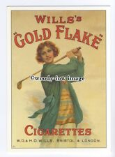 ad0812 - Will's Gold Flake Cigarettes- Lady Playing Golf  Modern Advert Postcard