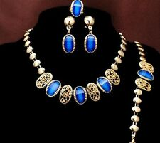 Gold Plated Blue Necklace Earring Blacelet & Ring Set