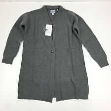 Barbour Audrey Long Line Size 8 Gray Italian Merino Wool Ribbed Button Sweater