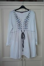 Lovely SIZE 22 Joe Browns White Blue & Silver Embroidered Tunic Top Long Sleeves