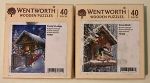 Wentworth Wooden Jigsaw Puzzle Bundle X2 Christmas Snowman Frosty Snow Birds 40