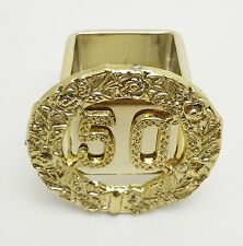 6 Gold 50th Anniversary Elegant Reusable Square Plastic Napkin Rings