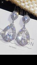 Crystal Glass Water Drop Dangle Elegant Glamor Designer Styled Formal Earrings