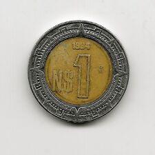 World Coins - Mexico 1 Peso 1994 Bimetallic Coin KM# 550