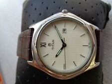 SLIM WHITE DIAL ST STEEL 3ATM TITAN INDIA DATE MEN'S QUARTZ WRISTWATCH