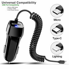 DC12-2V 2.1A Charging Car Charger LED USB Cable For iPhone XS X XR Samsung S10
