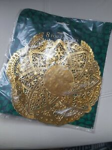 vintage WOOLWORTHS gold foil doilies doyleys x 8 sealed packet retro party