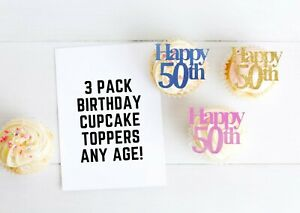 Birthday Cupcake Toppers Numbers Glitter Any Age 21st 30th 18th 21st 50th 30th