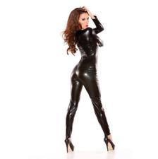 Frauen Vinyl PVC Wetlook Leder CATSUIT CLUBWEAR Bodysuit Motor Jumpsuit Schwarz