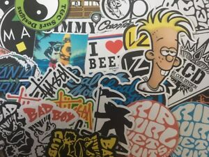 Surf Sticker Lot  Jimmy'z, Bad Boy Club, Santa Cruz, Von Zippier 30 Stickers