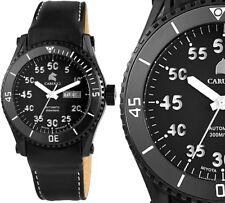 Herren Automatik Armbanduhr Schwarz/Weiss Leder CA2196BKWH Tarent von CARUCCI