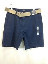 NEW Nautica Shorts Chinos Mens 32 Blue Belted 100% Cotton Flat Front Casual