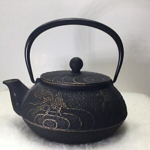 Teavana Black and Gold Japanese Cast Iron Koi Teapot With No Infuser