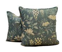 "Pair Laura Ashley Parterre Seaspray Fabric 18"" x 18"" Piped Cushion Covers"