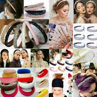 Women Flower Pearl Hairband Headband Crystal Rhinestone Hair Band Hoop Accessory