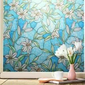 3D Static Cling Frosted Window Films Floral Stained Glass Sticker No Glue Decor