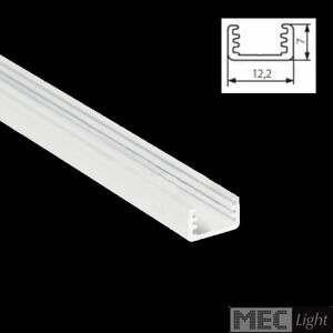 1m ALU-Profil / Leiste SLIM-8 (12x7mm) in weiß eloxiert + klarer Abdeckung