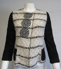 ST JOHN COUTURE black white gold round neck embellished Santana knit blazer sz 2
