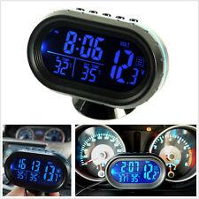 4In1 Digital TIME + Thermometer + Car voltage gauge Blue LED Backlight