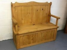 SOLID OLD WOOD PINE HAND WAXED MONKS SETTLE BENCH INC ARMS & STORAGE