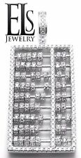 14K WHITE GOLD/925 STERLING SILVER CZ ABACUS MOVING BEADS MATH CHARM PENDANT