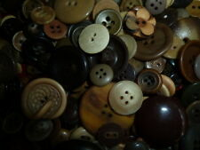 Brown Vintage Buttons Large Mixed Lot Plastic Metal Sew Through Shank Coat Dress