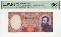Italy PMG Certified Banknote 1973 10,000 Lire UNC 66 EPQ Gem Pick 97f
