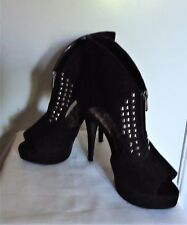 Rouge Black Suede Open Toe High Heel Platform Studded Angle Boots 7.5 B/M