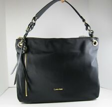Calvin Klein $178 NEW Black Nylon Hobo Tote Shoulder Bag Front Zip Pocket