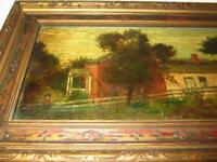 Antique Original Oil Painting on Wood by SILAS MARTIN (1841-1906) COUNTRY HOME
