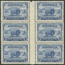 1934 (SG.151) 3d blue Macarthur, gutter blk.(6) beautifully centred & fresh MUH