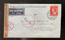 DEV.1 Netherlands Indies Currency control Censored airmail cover 1941 to USA