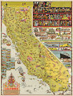 California Wall Map Decorative Pictorial Vintage Historical Art Poster Print