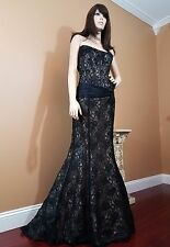 Absolutely Stunning Black & Lace Boned Bustier Mermaid Evening Gown, US 6