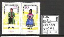 DDR 1964 Volkstrachten (I) WZd 149 (MiNr. 1079/1078) postfrisch KW 13,-€