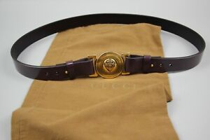 Gucci GG Purple leather Adjustable Brass Buckle Belt