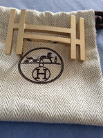 HERMES Authentique et superbe boucle de ceinture dorée H au carré - Neuve