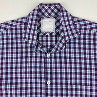 Billy Reid Mens Button Shirt Size Small Plaid Long Sleeve Cotton Spread Collar