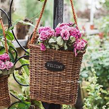 Wicker Hanging Plant pot post box wall mounted Flower basket Window wall Decor