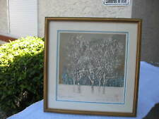 "JOICHI HOSHI SIGNED 1976 JAPANESE WOODBLOCK ""TREE SERIES"" PRINT W/MAT/FRAME"