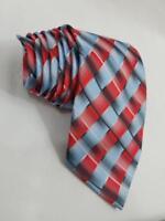 Ermenegildo Zegna Geometric Plaid Light Blue Red Diagonal Stripe Tie XL Long