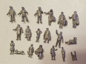 HO Scale Assorted Cast Metal Unpainted Figurines/People and a Dog 19 Pcs. NEW