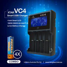 XTAR VC4 4-Slot Smart LCD 18650 Battery Charger + 4 PKcell 1.2v 2600mah AA NI-MH