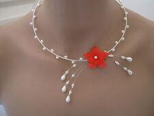 Collier Blanc/Fleur Rouge  pr robe de Mariée/Mariage/Soirée ( pas cher petit pri