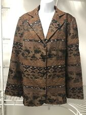 Coldwater Creek Marbled Yarn Stp Brown Jacket. Sz 1X (16-18). NWT. CC 501