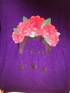 Gildan Printed Women's Sweatshirt Crew Frida Kahlo Floral Small Purple