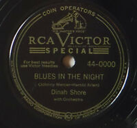 """DINAH SHORE ON RCA VICTOR - 10 INCH 78 RPM JUKE BOX ISSUE OF """"BLUES IN THE NIGHT"""