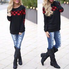 Women Long Sleeve Striped Tunic Tops Casual Plaid Loose Blouse T Shirt Pullover