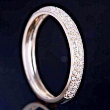 10K YELLOW GOLD PAVE DIAMOND HALF ETERNITY RING WEDDING ANNIVERSARY BAND  6.5